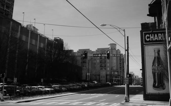 black and white street