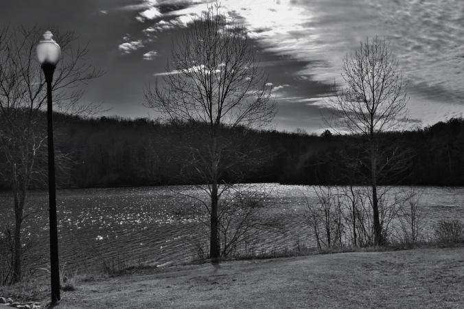 b&w lake